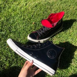 Red and Black Leather High Top Converse!